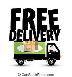 fourgon, package., service, symbole, -, gratuite, livraison, vecteur, camion, voiture., transport, icône