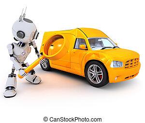 fourgon, robot, recherche