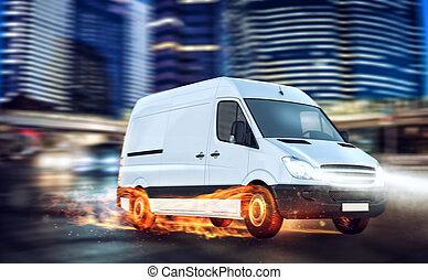 fourgon, service, super, paquet, livraison rapide, roues, fire.