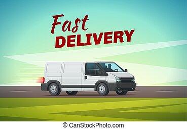 fourgon, transport, livraison, conception, camion, ou