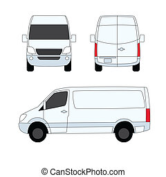 fourgon, trois, illustration, livraison, vecteur, blanc, côtés