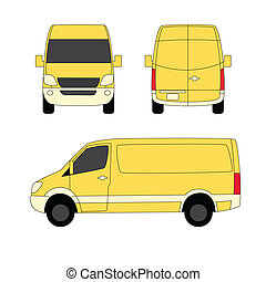 fourgon, trois, illustration, livraison, vecteur, jaune, côtés