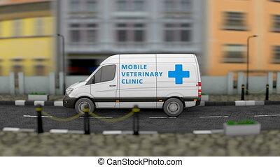 fourgon, vétérinaire, mobile