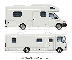 fourgons campeur, vecteur, réaliste, vue, côté, camping car...