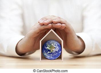 fourni, protéger, photo, nasa., la terre, notre, home., la terre