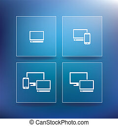fournisseur, internet, service, icônes