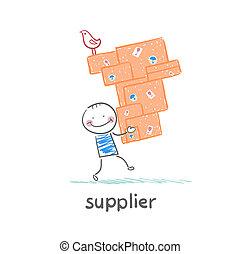 fournisseur, porte, marchandises