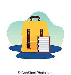 fourniture, icône, école, isolé, cahier