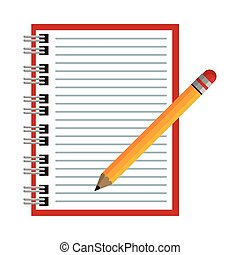fourniture, icône, crayon, école, isolé, cahier