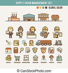 fourniture, infographic, éléments, chaîne