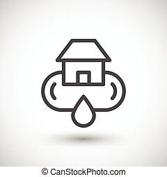 fourniture, système, eau, maison, ligne, icône