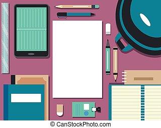 fournitures, école, éléments, illustration