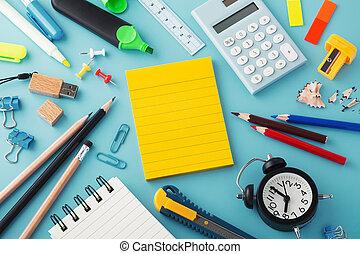 fournitures, école, bloc-notes, jaune