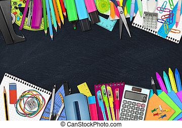 fournitures, école, /, bureau