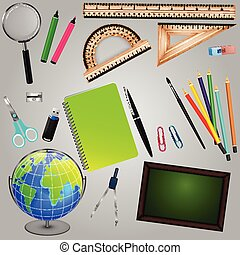 fournitures, école, conception, collection