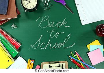 fournitures, école, dos, coloré