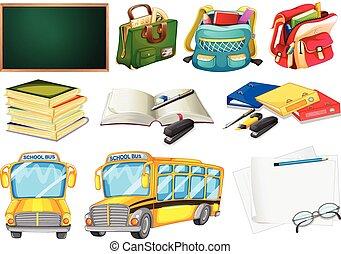 fournitures, école, ensembles