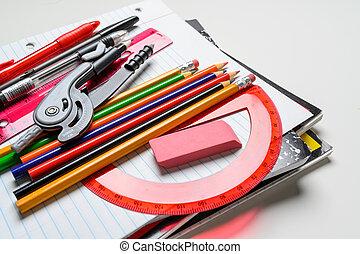 fournitures, école, fond blanc