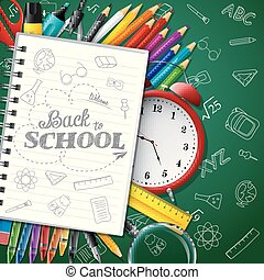 fournitures, école, papier, arrière-plan vert