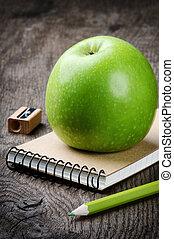 fournitures, école, pomme verte