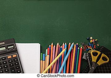 fournitures, école, tableau vert