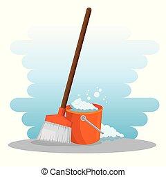fournitures, balai, seau, nettoyage