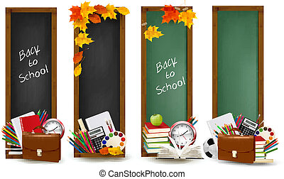 fournitures, bannières, école, school., vector., quatre, dos, leaves., automne