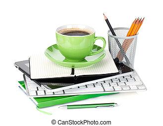 fournitures, café, vert, bureau, tasse