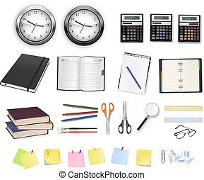 fournitures, calculatrices, clocks