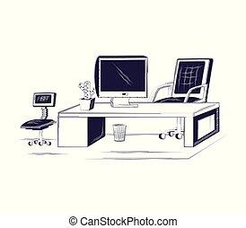 fournitures, conception, bureau bureau