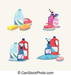 fournitures, conception, produits, nettoyage