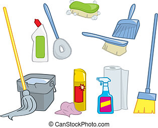 fournitures, dessin animé, nettoyage