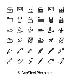 fournitures, icônes bureau