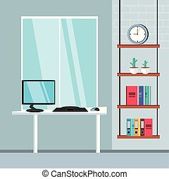 fournitures, informatique, lieu travail, bureau bureau