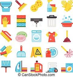 fournitures, ménage, ensemble, icônes