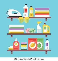 fournitures, ménage, ensemble, nettoyage