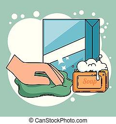 fournitures, ménage, nettoyage