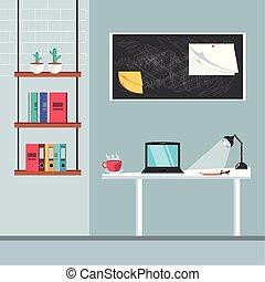 fournitures, ordinateur portatif, lieu travail, bureau
