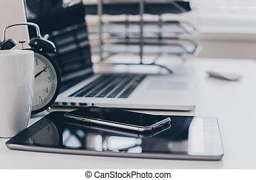fournitures, table, informatique, bureau bureau