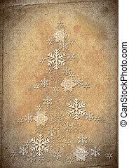 fourrure, arbre, flocons neige