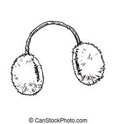 fourrure, clair, oreille, manchons, pelucheux