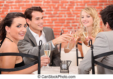 foursome in a restaurant