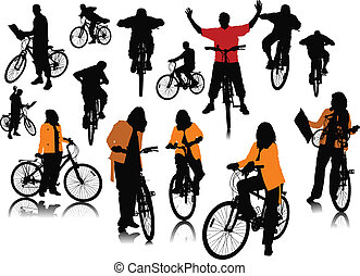 Fourteen people silhouettes with bicycle. Vector...