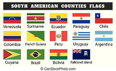 Fourteen South American countries flags