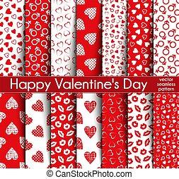 Fourteen Valentine's Day Seamless Vector Patterns.
