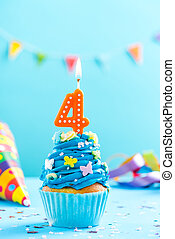 Fourth 4th birthday cupcake with candle. Card mockup.
