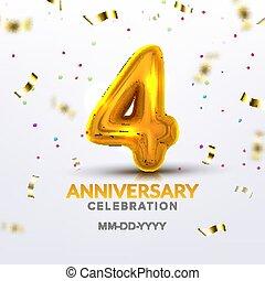 Fourth Anniversary Birth Celebration Number Vector
