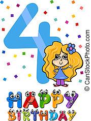 fourth birthday cartoon design