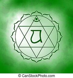 Fourth, heart chakra - Anahata.