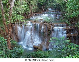 Fourth level of Huay Mae Kamin Waterfall, Khuean Srinagarindra National Park, Kanchanaburi, Thailand